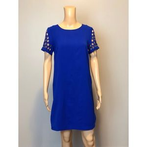 Sugar lips cobalt blue short cut out sleeve dress